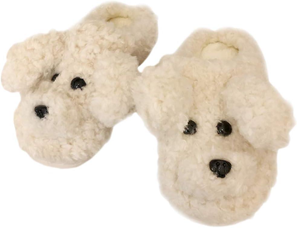 SGVAHY Cute 3D Cartoon Fluffy Teddy Dog Slipper for Girls, Cool Fun Warm Plush Animal Winter Non-Slip House Shoes for Women (Teddy White, 5-6.5)