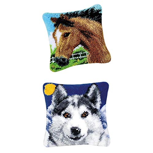 Bonarty 2 Piezas DIY Latch Hook Kits Throw Pillow Cover Cute Horse Wolf Rug Pattern Printed