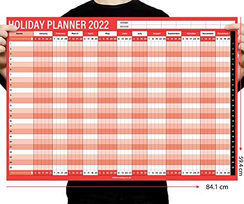2022 Staff Holiday A1 Wall Planner Calendar Year Home Office Work Jan Dec