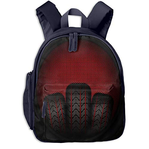 Kinderrucksack Kleinkind Jungen Mädchen Kindergartentasche Autoreifen Reifen Rot Backpack Schultasche Rucksack