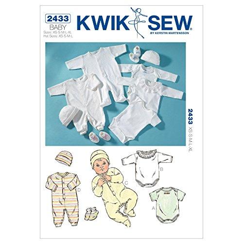 Kwik Sew Patroon k2433 maat XS – klein, medium – groot, heeft super mobieltjes – klein, medium – groot romppak, jumpsuits, GAP en ute, wit, 1 stuk