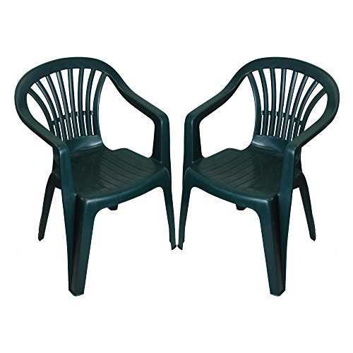 CrazyGadget Plastic Garden Low Back Chair Stackable Patio Outdoor Party Seat Chairs Picnic Green Pack of 2 (X1)
