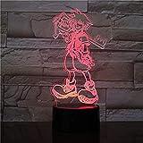 USB 3D Led Night Light Multicolor Luces decorativas Niños Niños Baby Gifts Juego Kingdom Hearts Lámp...