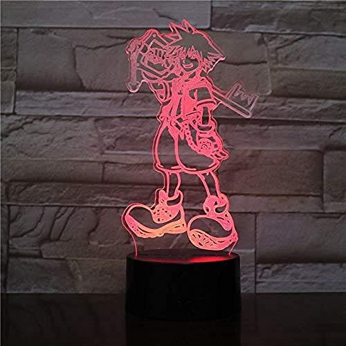 USB 3D Led Veilleuse Multicolore Lumières Décoratives Garçons Enfants Bébé Cadeaux Jeu Kingdom Hearts Lampe De Table De Chevet