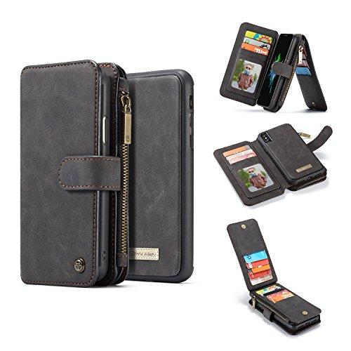Para iPhonex 2 en 1 caja de la billetera, 13 ranura de tarjetas de la billetera magnética desmontable folio titular de la tarjeta del soporte de la tarjeta de cuero con una cubierta trasera de TPU ext