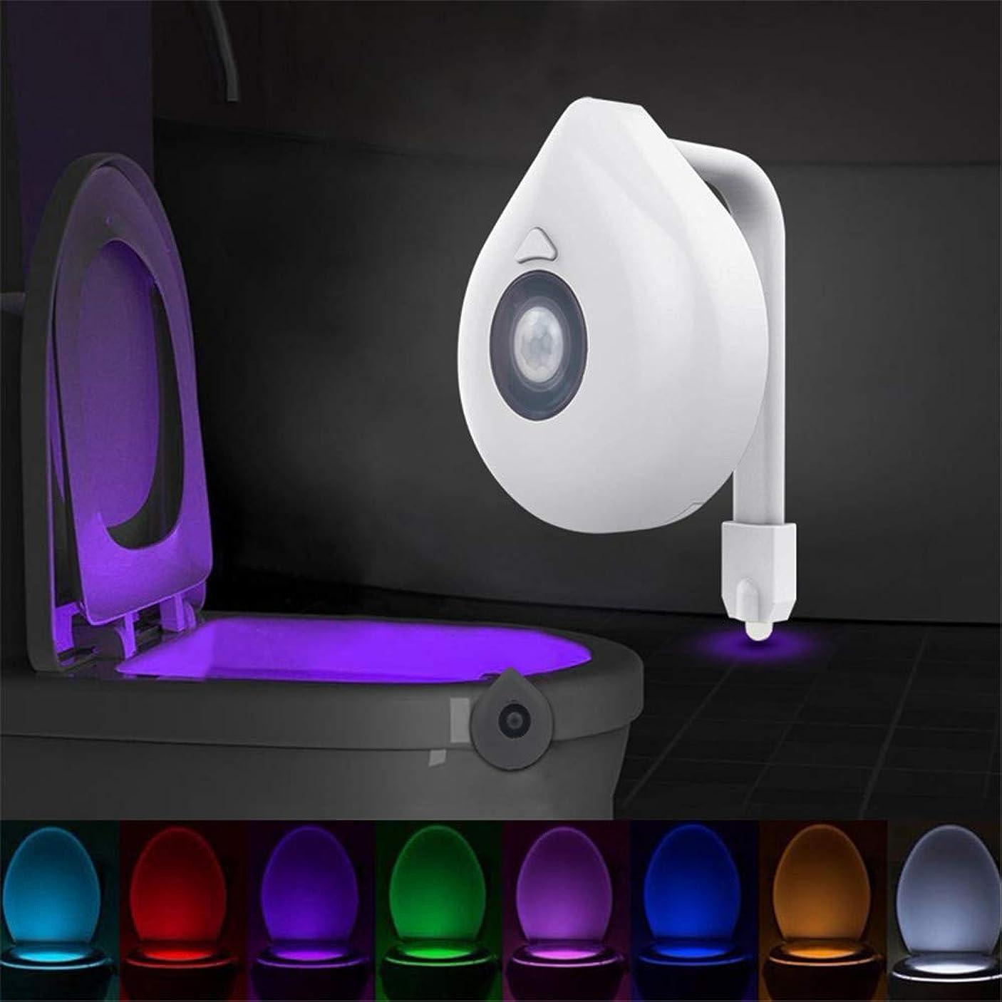 ウェイター仮説苛性LEDトイレシートナイトライトモーションセンサートイレライトリアル8色交換可能なランプaaa電池式トイレライトバックライト