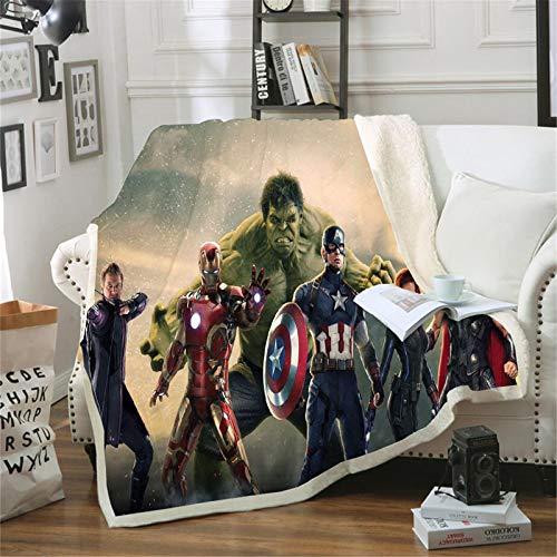 Bfrdollf Manta de forro polar de los Vengadores de Marvel con dibujos animados, adecuada para la oficina, el sofá, la cama, el salón, el dormitorio (150 x 200 cm,13)