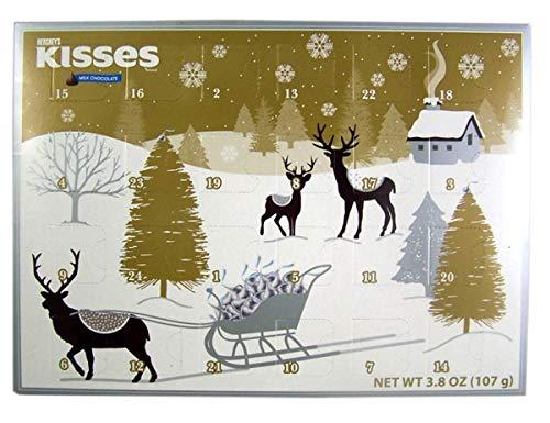 2018 Hersheys Kisses Milk Chocolate Christmas Advent Countdown Calendar with Candy, 3.8 oz