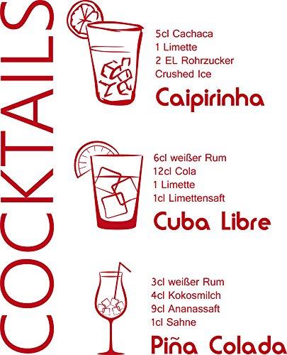 GRAZDesign Sprüche für Küchenwände Cocktails - Aufkleber für die Küche Rezepte - Wandtatoo für Küche Caipirnha - Wandtattoo Küche Cuba Libre / 49x40cm / 031 rot / 300022_40_WT031
