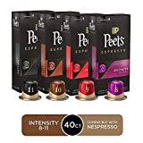 Peet's Coffee Espresso Capsules Variety Pack, 40 Count Single Cup Coffee Pods, Compatible with...