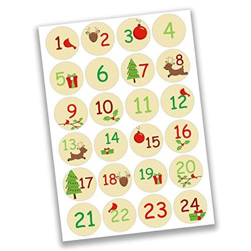 Papierdrachen 24 Pegatinas de números para Calendario de Adviento Motivos navideños No 19 - para Crear y Decorar