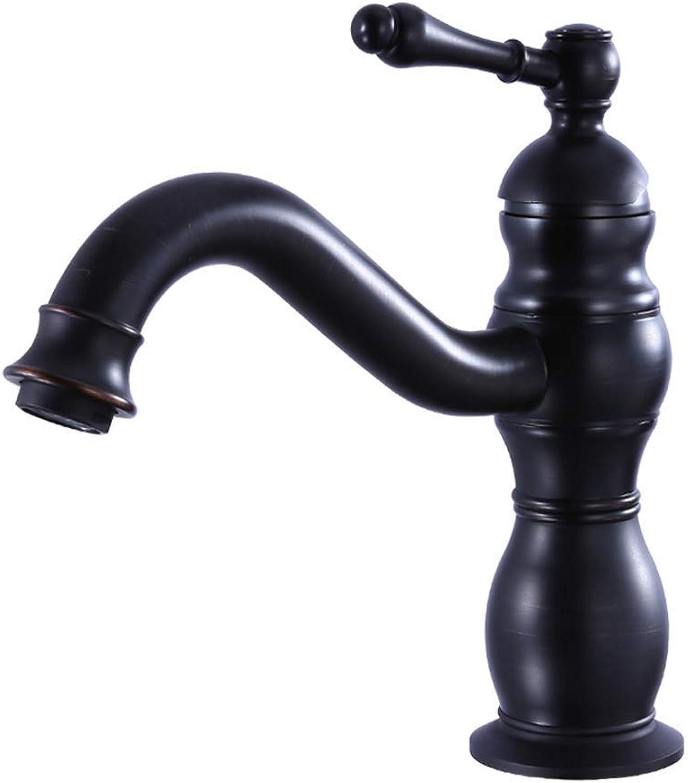 ZTMN Europische Schwarz Messing Becken Hei Kalt Wasserhahn Einhand Einlochmontage Becken Wasserhahn Drehbarer Wasserhahn (Design  A)