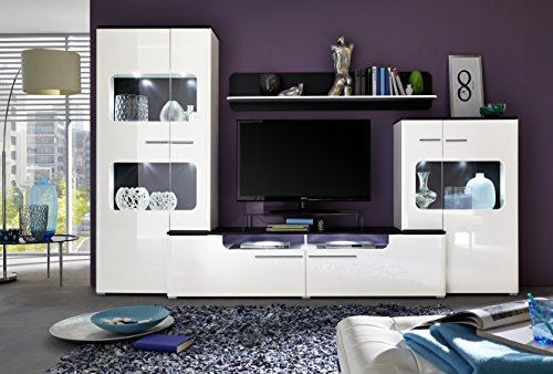 trendteam LU00202 Wohnwand Wohnzimmerschrank Weiss Hochglanz, Absetzungen schwarz, BxHxT 310 x 198 x 47 cm - 3