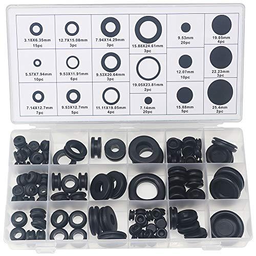 Dichtungsringe, verschiedene Verdrahtungs- und Blindung-Dichtungsringe, für Draht/Stecker/Kabel 18 Größen, 125 Stück