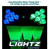 Power Lightz Leuchtendes Beer Pong Set - 14-teilig - mit Zwei Ping Pong Bällen und zwölf...