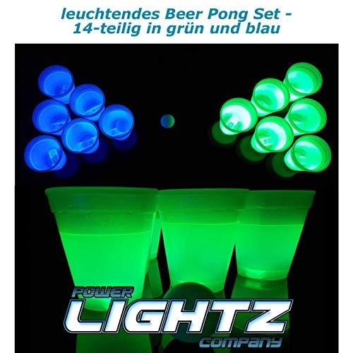 Power Lightz Leuchtendes Beer Pong Set - 14-teilig - mit Zwei Ping Pong Bällen und zwölf Glow-in-The-Dark Becher / Cups in grün und blau - Keine Batterien notwendig