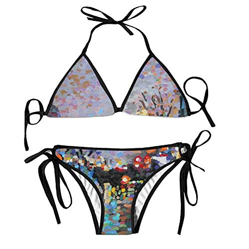 Pastel Light Strokes Bikini Swimsuit for Women Bathing Suit Two Piece Set Swimwear Tie Triangle Top & High Cut Bottom Sexy