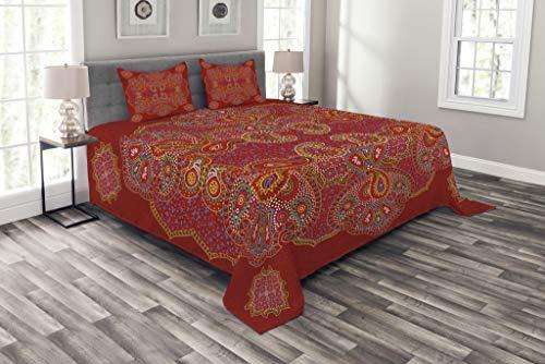 ABAKUHAUS Red Mandala Tagesdecke Set, Persian Paisley, Set mit Kissenbezügen luftdurchlässig, für Doppelbetten 220 x 220 cm, Burngundy blau und weiß