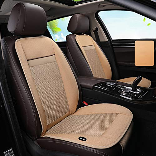 HFJKD Heated Car Seat Cover 12V Intelligent Thermostatic Car Cushion Four Seasons Universal, One-Button Switching Best Birthday Gifts for Him, Black/Beige,Beige