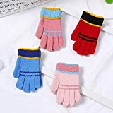 UBERMing 4 Paar Vollfinger Handschuhe Kinder Magic Stretch Handschuhe Warme Handschuhe Kinder für Jungen und Mädchen Kinderhandschuhe Strick - 4 Farben