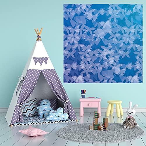 by Unbranded Pegatinas de pared abstractas azul cobalto mariposa enjambre patrón etiqueta engomada vinilo coches | Adhesivo de pared arte murales decoración fresca 35.5 pulgadas de ancho