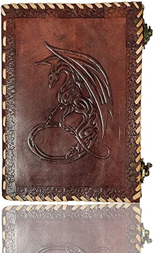 Axuvel 10' Leather Handmade Journal Notebook A4 Embossed Game of Thrones Celtic Dragon Handmade Travel Journal /Diary with Lock & Unlined Paper for Writing and Sketching Gift for Men and Women (Brown)