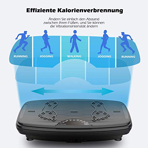 ISE Fitness Vibrationsplatte mit Bluetooth,USB,Fernbedienung,Ganzkörper Trainingsgerät rutschfest große Fläche mit 2 Widerstandsbänder 150kg belastet,Plattform 740 x 420