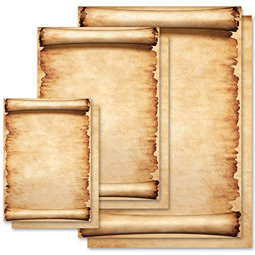 50 Blatt Briefpapier Design PERGAMENT Antik & History - DIN A4 Format - Paper-Media