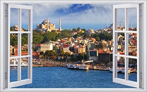DesFoli Istanbul Türkei Land 3D Look Wandtattoo 70 x 115 cm Wanddurchbruch Wandbild Sticker Aufkleber F555