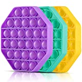 Push Pop Bubble Fidget Toys,Pop Bubble Fidget Autism Sensory Toys for Kids,Push Popping Silicone Sensory Toy Anxiety & Stress Reliever Autism Learning for Kids,Adults. Pack of 3(Octagonal)
