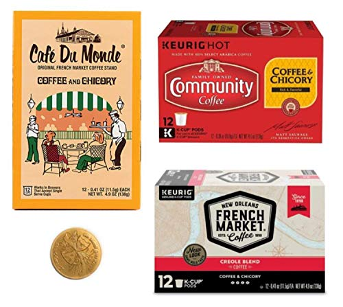 Cafe Du Monde Coffee, Community and French Market- New Orleans Coffee and Chicory Pod Sampler Bundle Includes 12 count boxes of each brand (36 Single Serve Pods)