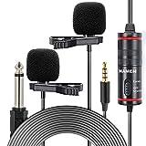 Indovis KM-D1 Pro 3,5 mm - Juego de micrófonos de aviación | 2 micrófonos | adaptador de audio de 6,35mm | para smartphones, cámaras de fotos y lápices de grabación | Ideal para entrevistas y vlogging