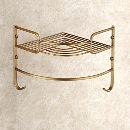 Étagères de salle de bain en laiton rétro en style européen Étagère en triangle Étagère en coin/salle de bains (taille : Une seule couche)