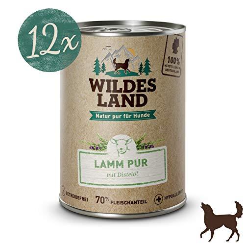 Wildes Land Hundefutter Nassfutter Lamm PUR 400g (12 x 400g)