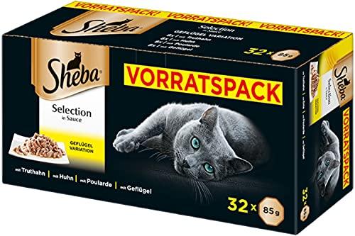 Sheba Selection in Sauce – Katzenfutter mit Geflügelhäppchen in Sauce für ausgewachsene Katzen – 32 x 85g Katzennahrung
