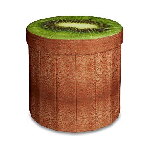 Relaxdays Tabouret rond pliant coffre de rangement pliable pouf siège chaise avec couvercle capacité de stockage 30 L motifs fruits 38 x 38,5 x 38,5 cm, kiwi