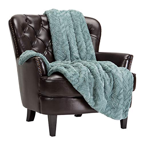 Chanasya Fuzzy Soft Cloud Textured Embossed Faux Fur Throw Blanket - Plush Sherpa Solid Cozy Blanket for Bed Sofa Chair Couch Cover Living Bed Room (50x65 Inches) Tan Turquoise Blanket