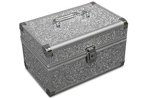 MARELIDA® Schmuck-Kästchen in Silber   Glitzer-Optik   Premium Schmink-Beauty-Koffer - klappbaren Fächer   Edel in Form & Design