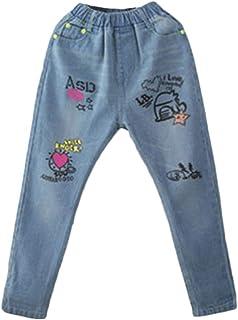 Qitun Pantalones De Mezclilla para Niños Ocio Y Comodidad Patrón De Dibujos Animados Jeans Estampados
