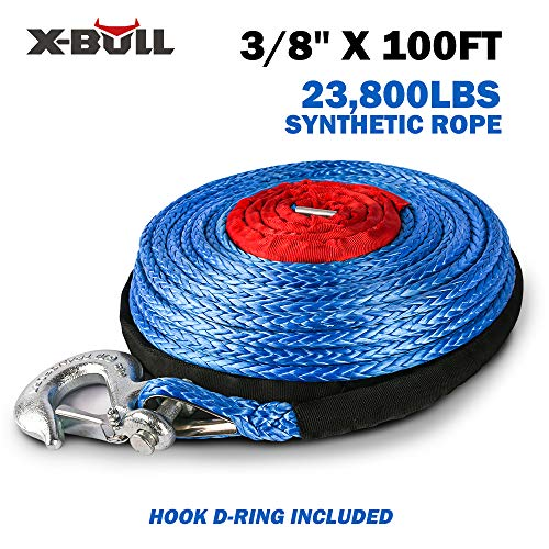 "X-BULL SK75 3/8"" x 100ft Dyneema Synthetic Winch Rope with Hook Car Tow Recovery Cable(23,809 Lbs,Blue) (Blue)"