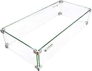 Skyflame Rectangular Fire Pit Glass Wind Guard, 30 x 14 Inches
