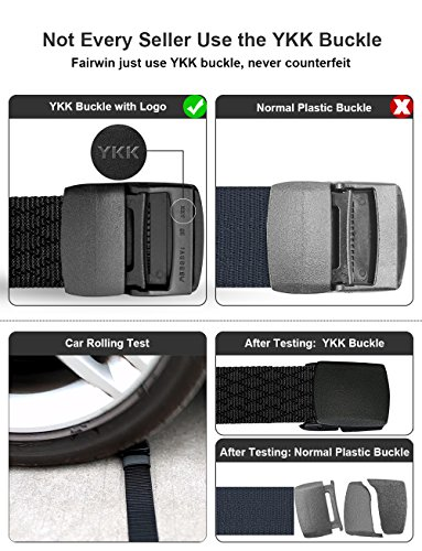 Fairwin Men's Military Tactical Web Belt, Nylon Canvas Webbing YKK Plastic/Metal Buckle Belt (Black,Waist 45)