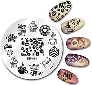 Round Nail Stamping Plate Geometry Catcher Feather Ballet Swan Dream Flower Manicure Nail Art Image Template BP-91