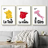 Cuadro sobre lienzo para pared póster Vintage impreso Italia Francia España mapa de ruta en bicicleta imagen decoración para sala de estar 40X60cm sin marco