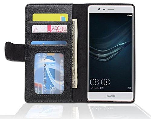 Cadorabo Funda Libro para Huawei P9 en Negro ÓXIDO – Cubierta Proteccíon con Cierre Magnético e 3 Tarjeteros – Etui Case Cover Carcasa