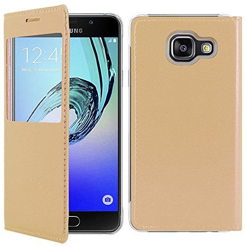 ebestStar - Funda Compatible con Samsung A5 2016 Galaxy SM-A510F Carcasa Ventana Vista Cover Cuero PU, Funda Libro Billetera, Dorado [Aparato: 144.8 x 71 x 7.3mm, 5.2'']