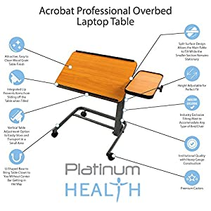 Acrobat Professional Overbed/Laptop Table, Tilting, Height Adjustable with Casters. Split Top for Maximum Vesatility. Folds for Easy Storage. (white birch)