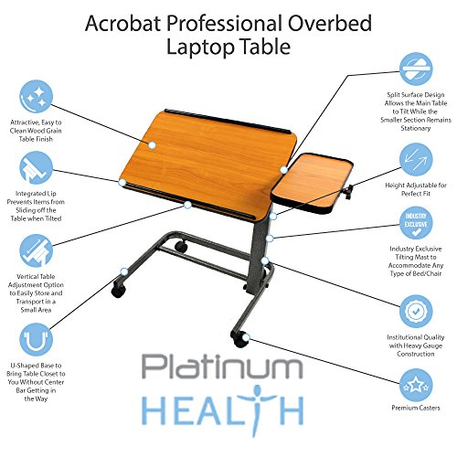 Acrobat-Professional-OverbedLaptop-Table-Tilting-Height-Adjustable-with-Casters-Split-Top-for-Maximum-Vesatility-Folds-for-Easy-StorageCHOOSE-CHERRY-OR-WHITE-BIRCH