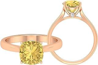 Anello solitario per promessa, 8 mm citrino solitario, anello D-VSSI in oro moissanite, anello di fidanzamento cattedrale,...