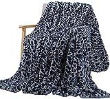 ZZYC Leopard Kristall Plüsch Wurf Bettwäsche Decke, Decke Häschen-Baby-Decke Kristall Kurze Plüsch-Sofa-Abdeckung Decke,Blue-160 * 200cm